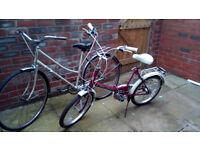 1 ladies Bike 2 uni bikes folding bikes £75, £80, and £75 step through frames