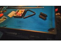 snooker table combination with table tennis table and equipment to go with