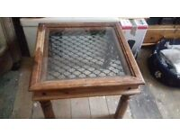 SOLID WOOD AND CAST IRON GLASS TOP COFFEE TABLE
