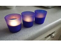 22 x Blue Tea Light Holders + 6 extra Candle Rings £18