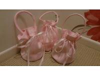 3 x Baby Blush Pink Bridesmaid Flower Girl Dolly Bag