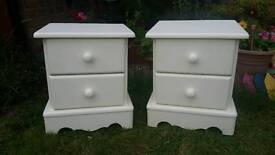 Shabby chic solid pine pair of bedside tables