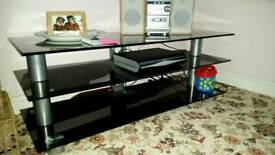 Large 3 tier black glass TV stand