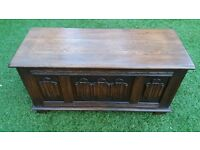 Solid Elm Jaycee or Old Charm Linenfold / Blanket / Toy / Bedding Box, Trunk, Coffer, Chest