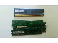 11 x Assorted DDR2/DDR3 Desktop Ram ( 1&2gb)