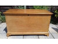 Antique Victorian Pine Trunk, Blanket Box, Coffee Table