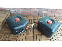 Pair of linked caravan waste water containers