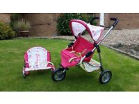 Toy Pushchair, Bouncer and Cot
