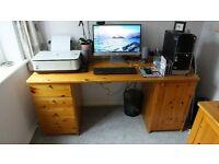 Ikea Pine Home Office Desk & 2 freestanding Wall Units