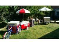 Ice cream bikes and hot dog stall