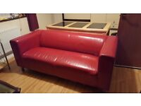IKEA Red Leather Sofa For Sale