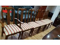 SOLID WOOD EXTENDED DINING TABLE WITH 6 CHAIRS + FREE DELIVERY