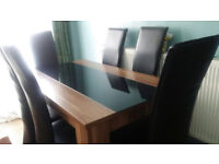 6 seater wooden and glass dining table