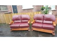2+2 oxblood leather sofa on oak wooden frame