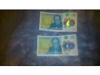 2 x Banknote five pound note £5 AA47