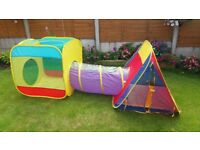 SOLD set of three pop up tent tunnel set