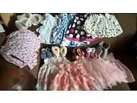 huge bundle of baby girl clothes 3-9 months includes shoes next coat and frilly dresses