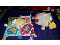 Vtech teddy comforter & Mothercare musical taggie hedgehog