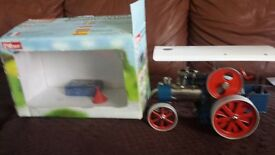 wilesco d405 steam traction engine blue