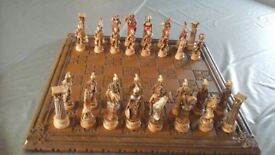 solid wood chess board and pieces in excellent condition
