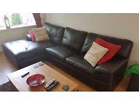DFS Black Leather Corner Sofa - Left Hand