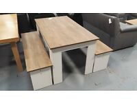 Brand New Dining Table & Bench Set, 22mm thick table top Textured White Ash & Oak finish
