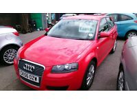 2006 (56) AUDI A3 1.6 SPECIAL EDITION 3 DOOR HATCH RED NEW MOT ONLY 79K WITH F/S/H CD ALLOYS E/W +