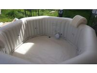intex bubble and jet 6 person deluxe hot tub used hand full of times selling due to relocation