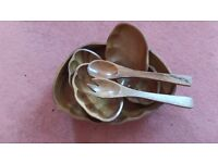 WOODEN SALAD TABLE SET with Serving Fork & Spoon and 4 Dishes Used