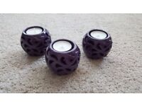 3 x Purple Tealight Holders and Candles