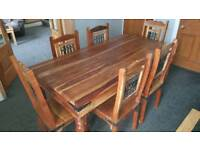 Indian Sheesham dining table with 6 jali chairs