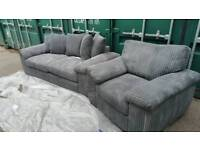 EX DISPLAY NEW 3 seater sofa + Armchair Grey Jumbo Cord DELIVERY AVAILABLE