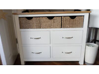Solid Cream Oak Sideboard with Baskets.