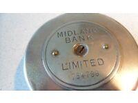 Midland Bank Limited Round Metal Moneybox