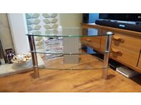 TV Stand Glass 3 Tier Shelving Table Unit