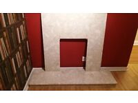 Solid Cream Marble Fireplace/Fire Surround & Hearth