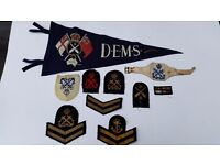 Second World War Navy Insignia and late 1940s Gunnery Naval Pennant