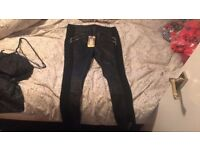 REAL LEATHER LEGGINGS SIZE 14 NEVER WORN WILL TAKE OFFERS IF GONE TONIGHT