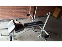 Maximuscle multigym weights gym bench with rack, perfect for arms, legs, chest NO WEIGHTS WITH BENCH