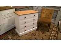 Vintage White Solid Pine Chest Of Drawers *FREE LOCAL DELIVERY*Three Two Shabby Chic Bedside Dresser
