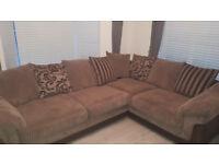 DFS Brown Fabric Corner Sofa