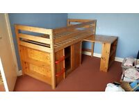 Cabin Bed with Desk and cupboard