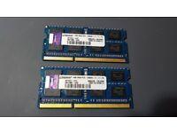 8Gb ( 2 x 4Gb ) Kingston 1600Mhz DDR3 Laptop Ram PC3-12800S
