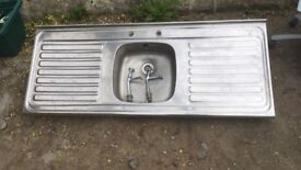 Kitchen sink, drainer and taps - stainless steel 5' foot, 1.5m long