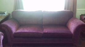 URGENT! SofaSofa. 3-Seater Sofa. Burgundy Crushed Velvet Effect.
