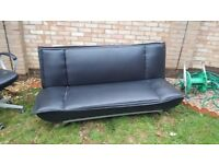 Used PU leather sofa ved with chrome legs