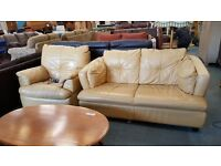Mustard yellow leather 2 seater and reclining chair set