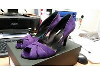 Hobbs Winona Opentoe Strap Vamp Shoe Purple size 6