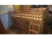 CABIN BED WITH LOTS OF ADDITIONAL STORAGE UNDERNEATH INC DESK DRAWERS CUPBOARD SHELVES