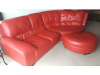 Beautiful red leather corner sofa and footstool for sale